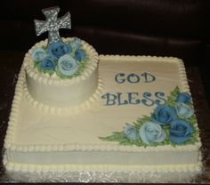 Boy Baptism Cake This is a Buttercream cake with Fondant Flowers and a Chocolate cross dusted with Silver dust. First Communion Cakes, Première Communion, Baby Christening Cakes, Baptism Cakes, Baptism Sheet Cake, Baby Dedication Cake, Comunion Cakes, Full Sheet Cake, Cross Cakes