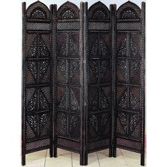 "Woodland Imports 72"" x 80"" Wooden 4 Panel Room Divider"