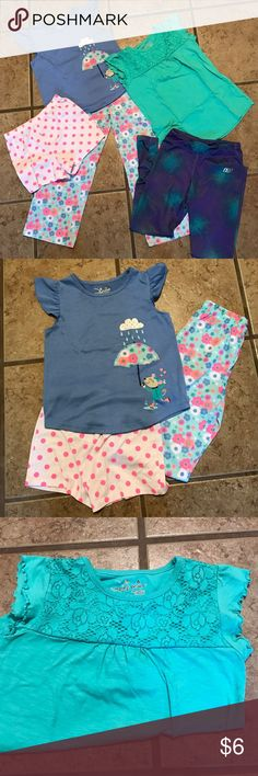 GIRLS SIZE 6 BUNDLE Jumping Beans pajama set, jumping Beans shirt with lace over lay and small stain as pictured, and Sketchers athletic tights.  Normal wear.  Non smoking home Pajamas Pajama Sets