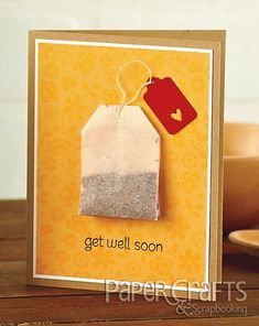 Paper Crafts Connection: Send Your Love with Get Well Cards - Get Well Soon by Sarah J. Moerman - Paper Crafts May/June 2013 Get Well Gifts, Get Well Cards, Tarjetas Diy, Get Well Soon, Sympathy Cards, Paper Cards, Diy Paper, Cute Cards, Creative Cards