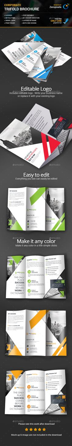 Corporate Business Trifold Brochure Template PSD