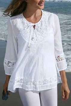 Look at this Ananda's Collection White Crochet Tie-Front Peasant Top - Women on today! Look at this Ananda's Collection White Crochet Tie-Front Peasant Top - Women on today! Blouse Styles, Blouse Designs, Sundress Outfit, Look Fashion, Womens Fashion, Peasant Tops, Lace Tops, Fashion Dresses, Tunic