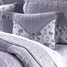 Lavender Rose Envelope Cotton Throw Pillow