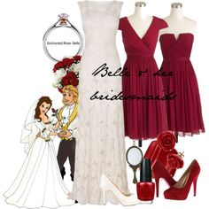 """""""Belle & her bridesmaids"""" by amarie104 on Polyvore  Cute wedding gown! And I like the middle dress"""
