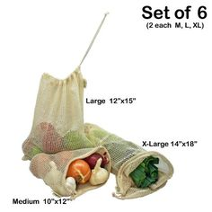 Simple Ecology Organic Cotton Mesh Produce Bag - Set of 6.