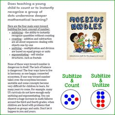 This simple slide show game is more sophisticated than it looks, because it links three major sources of number: subitizing, unitizing, and counting. The book Moebius Noodles: Adventurous Math For the Playground Crowd explains why doing so is important. You can continue playing the game beyond the slide show - as a #MathScavengerHunt for patterns!
