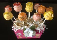 Mother's Day Arrangement - Swiss White Chocolate & Raspberry, Italian Lemoncello Cream Cake & German Almond Torte Pops  $36.00