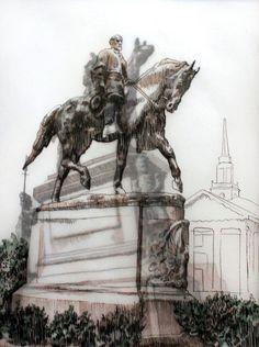 'Lee Park' drawing by Adele van Heerden South African Artists, Online Art Gallery, Adele, Framed Artwork, Van, Statue, Drawings, Sketches, Drawing