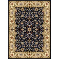 Concord Global Cyrus Rectangular Blue Floral Woven Area Rug (Common: 8-ft x 11-ft; Actual: 7.83-ft x 10.83-ft)