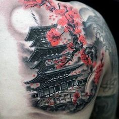 Mens Upper Back Shoulder Japanese Temple With Cherry Blossom Tattoo