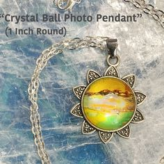 Crystal Ball Photo Pendant / 24 in. Chain Necklace / One Inch Circle / Crystal Ball / Energy Jewelry / Healing Stones / Reiki Jewelry /P3