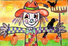 fall crayon relief scarecrow