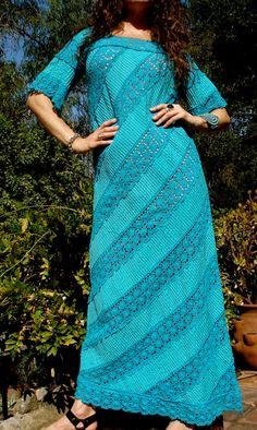 Crochet vintage hand embroidereed Mexican maxi dress!