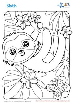 Sloth Coloring Page Summer Coloring Pages, Coloring Sheets For Kids, Halloween Coloring Pages, Printable Adult Coloring Pages, Cute Coloring Pages, Animal Coloring Pages, Coloring Books, Fairy Coloring, Forest Coloring Pages