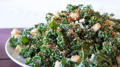A crisp kale salad is the king of all Caesars. Perfectly balance your plate: Serve with 1 serving protein Lunch Menu, Dinner Menu, Supper Recipes, Lunch Recipes, Side Dishes Easy, Side Dish Recipes, Kale Caesar Salad, Epicure Recipes, Plat Simple