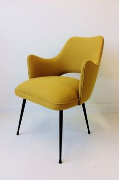 1950s Italian easy chair. #mustard #midcentury #chair