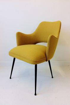1950s Italian easy chair. #mustard #midcentury #chair