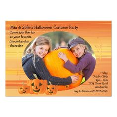 Shop Smiling Jack-O-Lattern Photo Invitation created by PixiePrints.