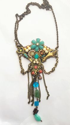 Vintage and romantic turquosie Necklacke-hand made-antique plated parts -turquoise, pink and cream beads-elegalnt hamsa-antique plated chain by RachelGefenDesigns on Etsy https://www.etsy.com/il-en/listing/543454141/vintage-and-romantic-turquosie-necklacke