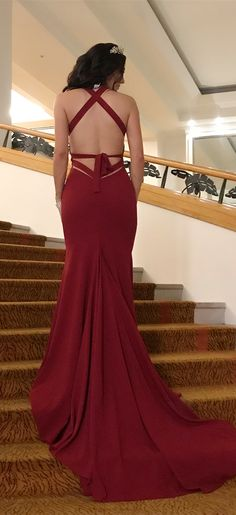 gorgeous burguny long formal evening dress wedding party dress, mermaid long prom dress with train, party dress