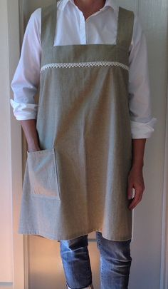 Japanese Style Smock Apron Pinafore Cross Back by VirginiaWay