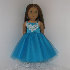 Teal Party Dress Fits American Girl and 18 by QualityDollClothes