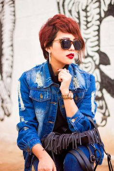 Streetstyle Fashion: Ripped Boyfriend Denim jacket, High waist Denims, Ankle Length Platform Boots, backpack with Tassels