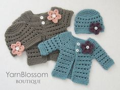 Baby CROCHET PATTERN Mini Miss Cardigan & Beanie (4 sizes included from preemie to 6 months) Instant Download