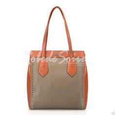 Sac à Main Femme-Beige élégant sac à bandoulière en cuir rivet frappé la couleur