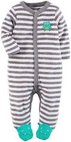 8882d9d7 Carters Baby Boys Striped Terry Footie Baby Monster 9 Months -- Details can  be found
