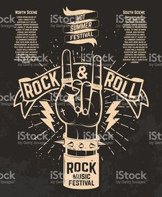Hot summer festival. Human hand with rock and roll sign. royalty-free stock vector art