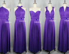 Weddings Wrap Infinity Convertible Dress Full Length Purple Evening Party Formal Bridesmaid Dress