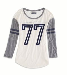 AEO Factory Varsity Graphic T-Shirt Size: XL - Color: Chalk - Cost: $17.99 - ae.com