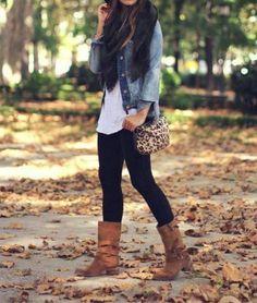 boots. leopard. Flowy tank, denim shirt leggings frye boots