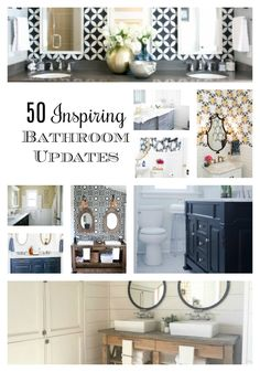 50 Inspiring bathroom renovations and updates to get so many ideas for updating bathrooms big and small budgets.  #bathroom