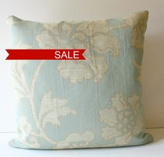 Designer Highland Court Soft Pale Pool Blue Pillow with by 6Wilson, $37.50