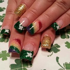 St Patrick's nails complete with rainbow!