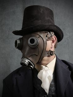 Steampunk Gas mask No. 66 in black iron leather by TomBanwell