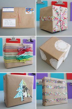15 Creative Ways to Gift Wrap on a Budget•Use old shopping bags as wrapping paper.• Use gift labels as address labels when sending a package by mail.•Tissue Paper Confetti• With just a few strands of colorful yarn, it's easy to make any package pop.•Doilies •Tree Pop-Up: Simply fold a piece of patterned paper in half, cut out a tree shape, and stick on your box.•Metallic Confetti: A little more disco than the tissue paper variety.
