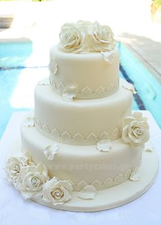 Wedding cake with roses by Party Cakes By Samantha, via Flickr