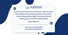 Happy and Satisfied Customer of Superior Construction! We work closely with our clients for their dream home. Custom Home Builders, Custom Homes, People Working Together, North York, Luxury Homes, Building A House, New Homes, Construction, Happy