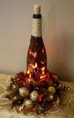 28 wine bottle centerpieces for every occasion shelterness Recycled Wine Bottles, Wine Bottle Art, Painted Wine Bottles, Lighted Wine Bottles, Wine Bottle Crafts, Beer Bottle, Glass Bottles, Twine Wine Bottles, Bottle Lights