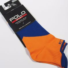 POLO SPORT RALPH LAUREN Men's Performance Low Cut Socks NEON ORANGE One Size NWT #PoloSportRalphLauren #Athletic