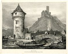 Katz - View with a moored boat on a river in foreground, flowing under the arch of a bridge at right, on which three figures are standing; at left, people walking along a path leading to a round tower; houses in background, and ruins of a castle on hilltop behind. 15 July 1824 Lithograph on chine collé