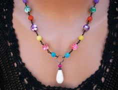 Summer Rainbow - White Howlite Necklace Mother of Pearl Jade Black by BeadCreations, $28.00