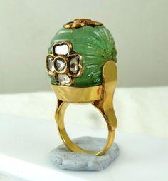 ANTIQUE OLD ESTATE COLOMBIAN EMERALD MELON DIAMOND 18K GOLD INDIAN JADAU RING #PANSARI