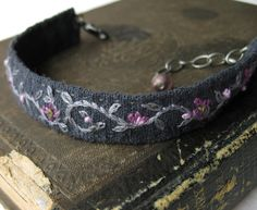 Purple and Grey Bracelet Hand Embroidered