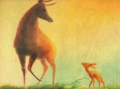 Illustrations by Tyrus Wong that would inspire Disney's Bambi. Wong would go on to serve as lead artist on the classic animated film.