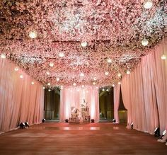 Reception decor with a floral ceiling? Yes please!! Decor by…