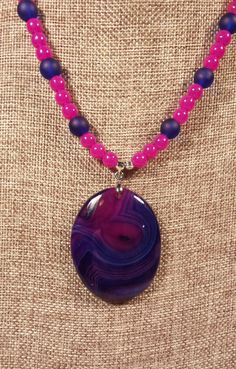 Blue and Magenta Agate Pendant Necklace with rose by SpringHammock